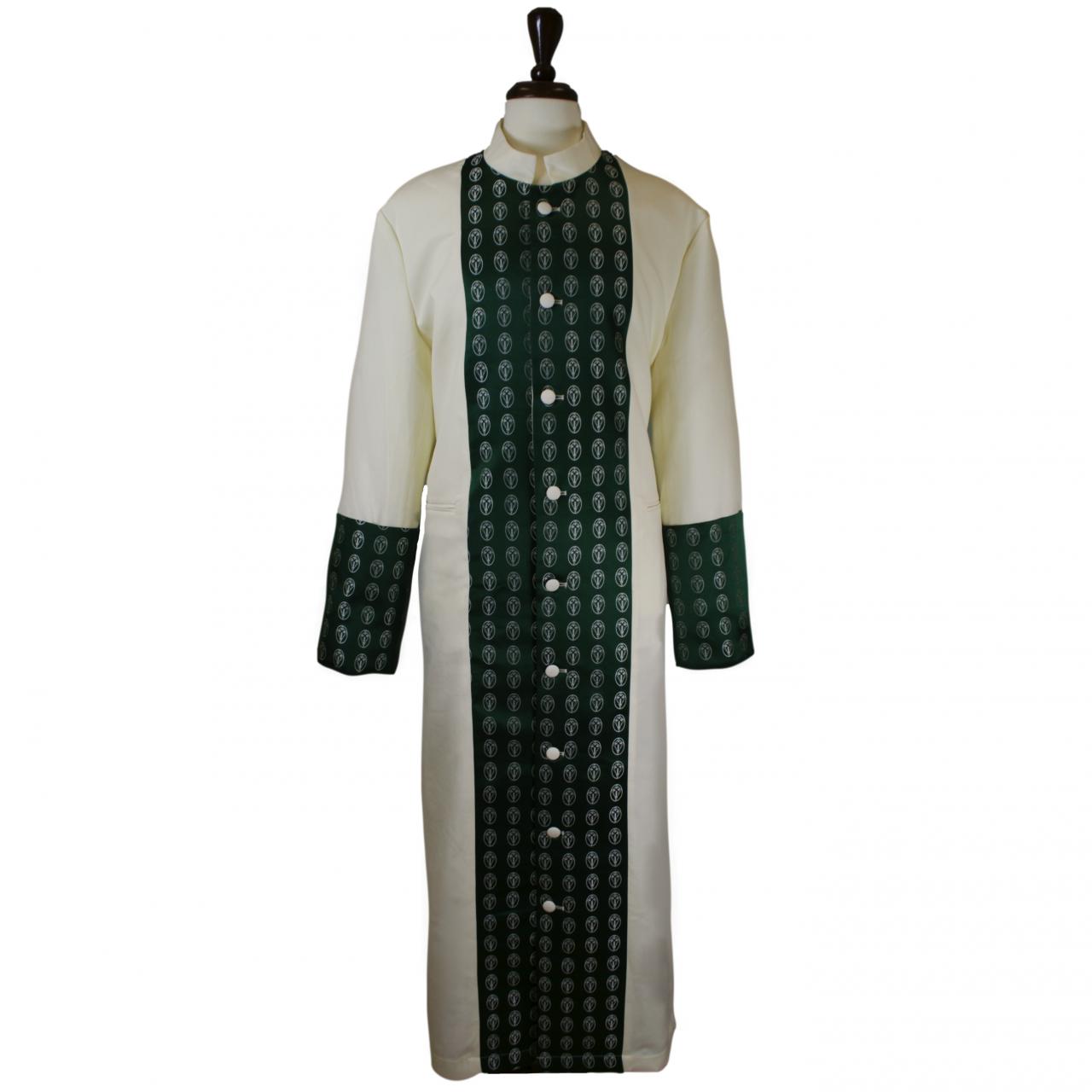 805 M. Men's Premium Pastor/Clergy Robe - Creme/Emerald Green Brocade