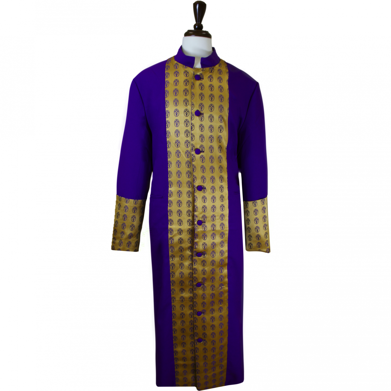806 M. Men's Premium Clergy/Pastor Robe - Purple/Gold Brocade