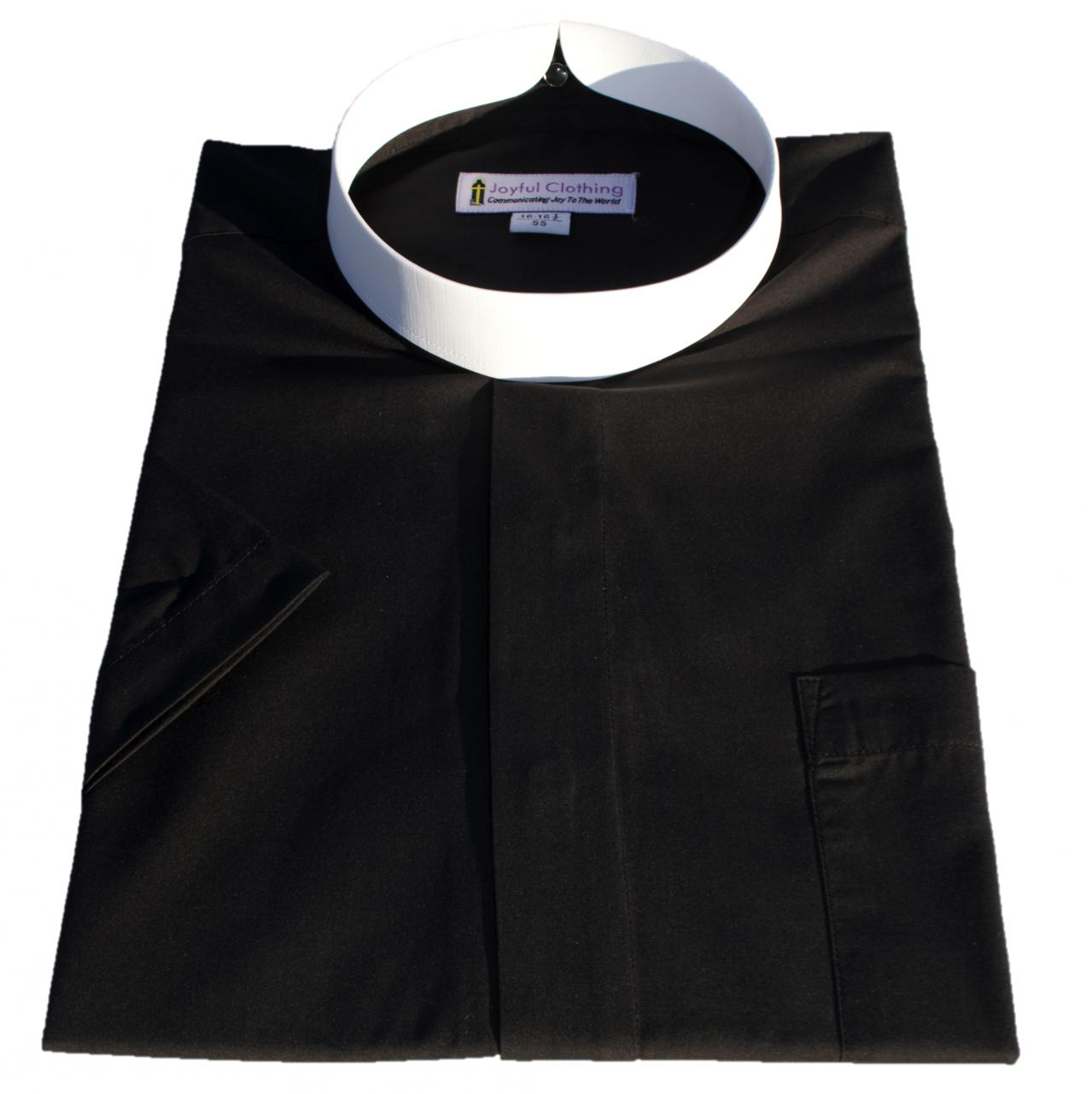 251. Men's Short-Sleeve Full Collar Banded Clergy Shirt - Black
