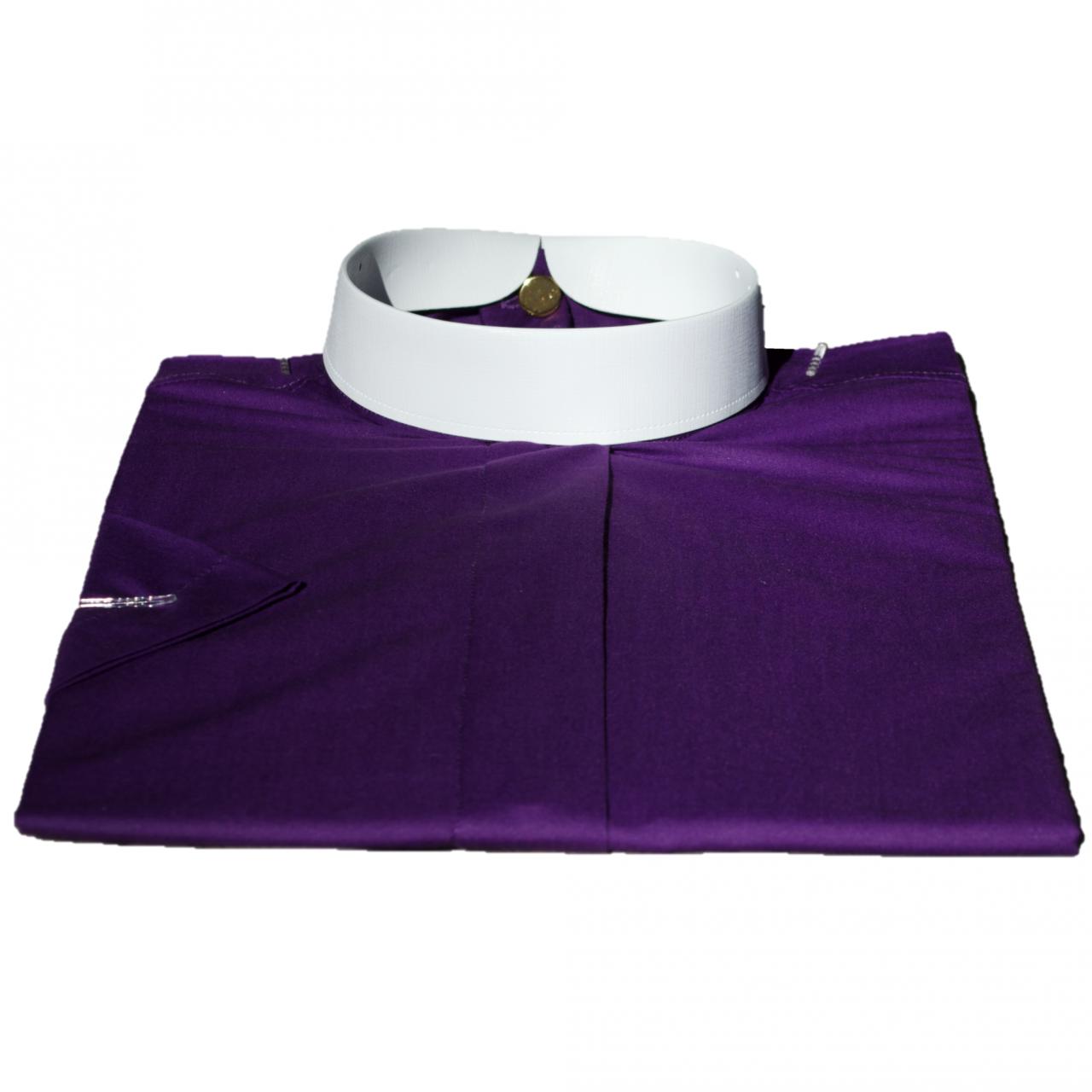 255. Men's Short-Sleeve (Banded) Full-Collar Clergy Shirt - Purple