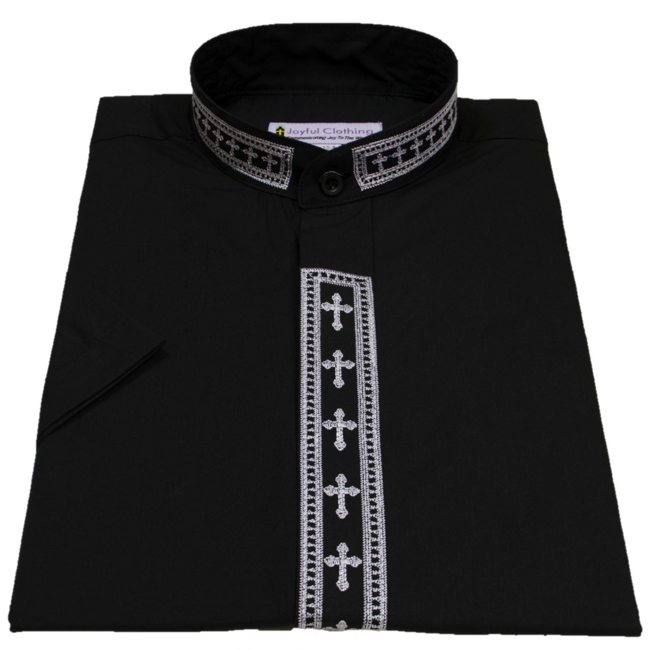 353. Men's Short-Sleeve Clergy Shirt With Fine Embroidery - Black/White