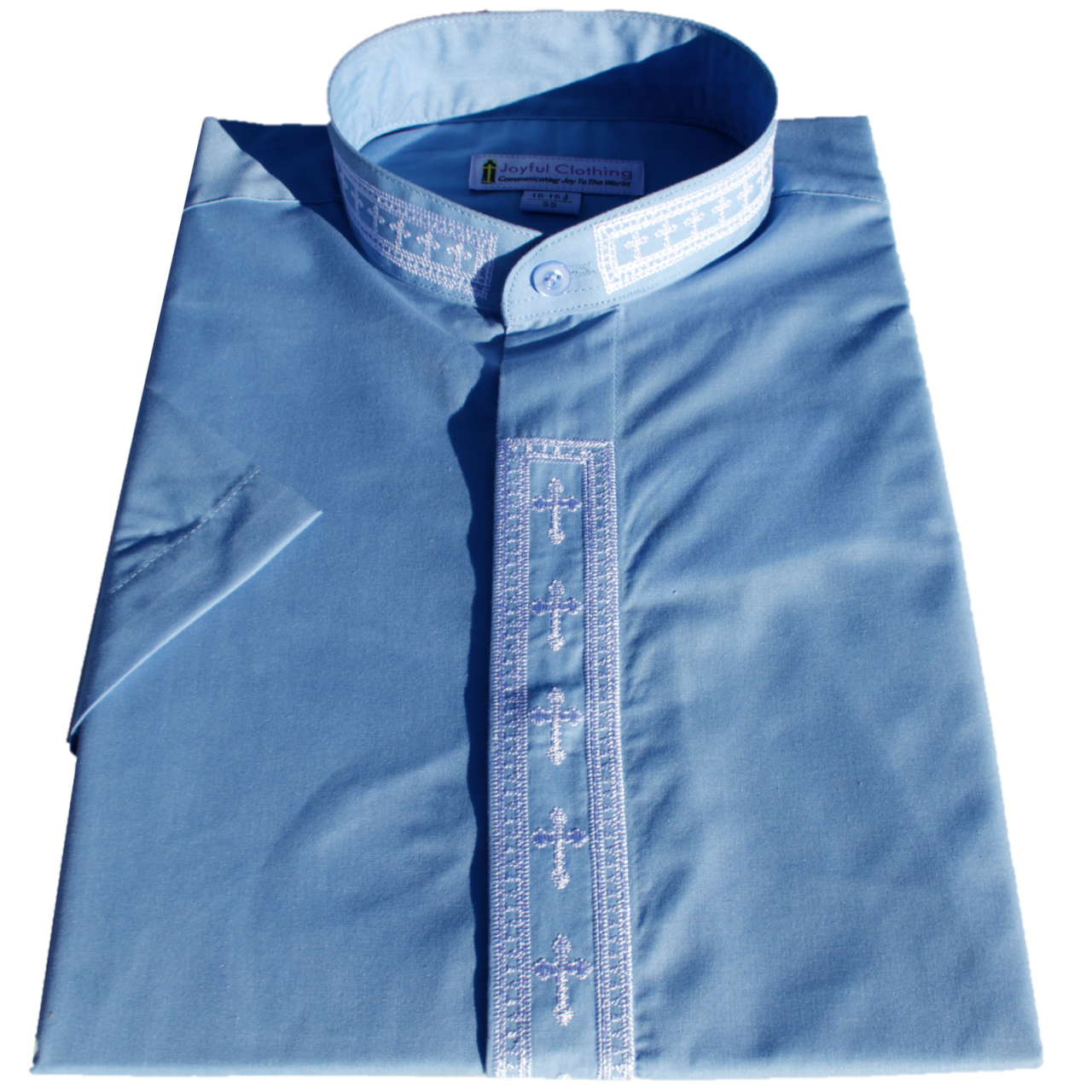 362. Men's Short-Sleeve Clergy Shirt With Fine Embroidery - Light Blue/White