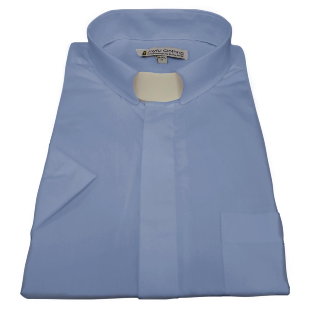 163. Men's Short-Sleeve Tab-Collar Clergy Shirt - Light Blue
