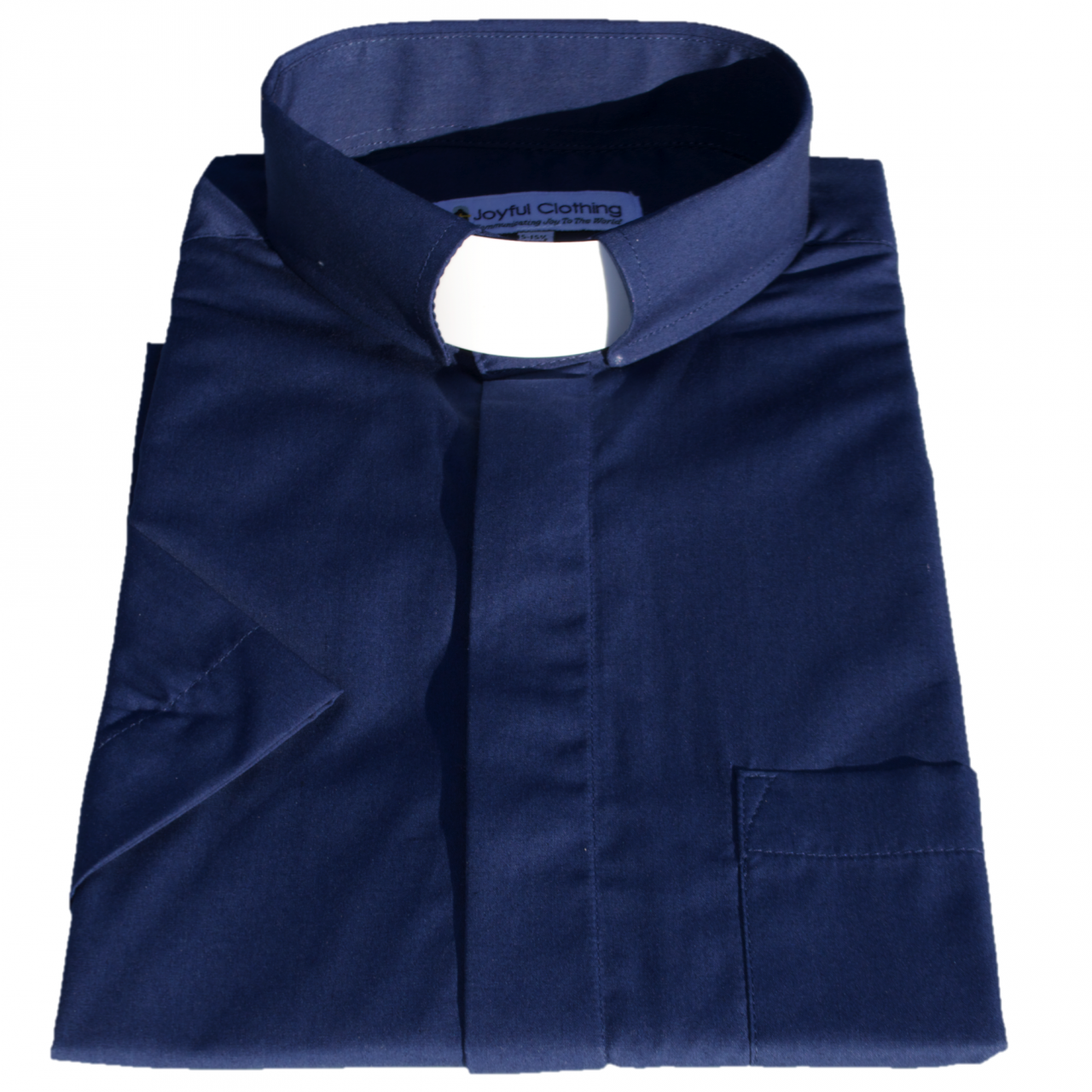 175. Men's Short-Sleeve Tab-Collar Clergy Shirt - Navy