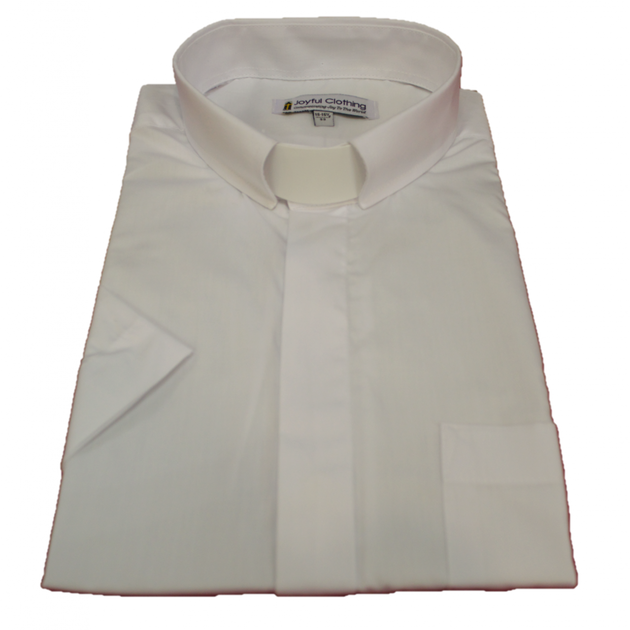 153. Men's Short-Sleeve Tab-Collar Clergy Shirt - White