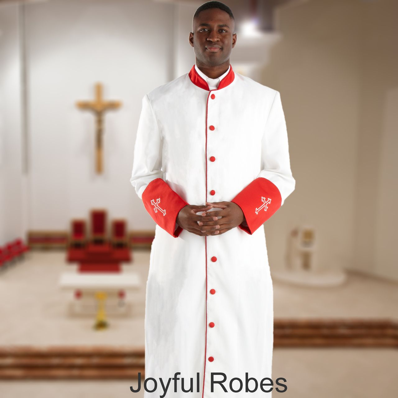 311 M. Men's Pastor/Clergy Robe - White/Red Cuff