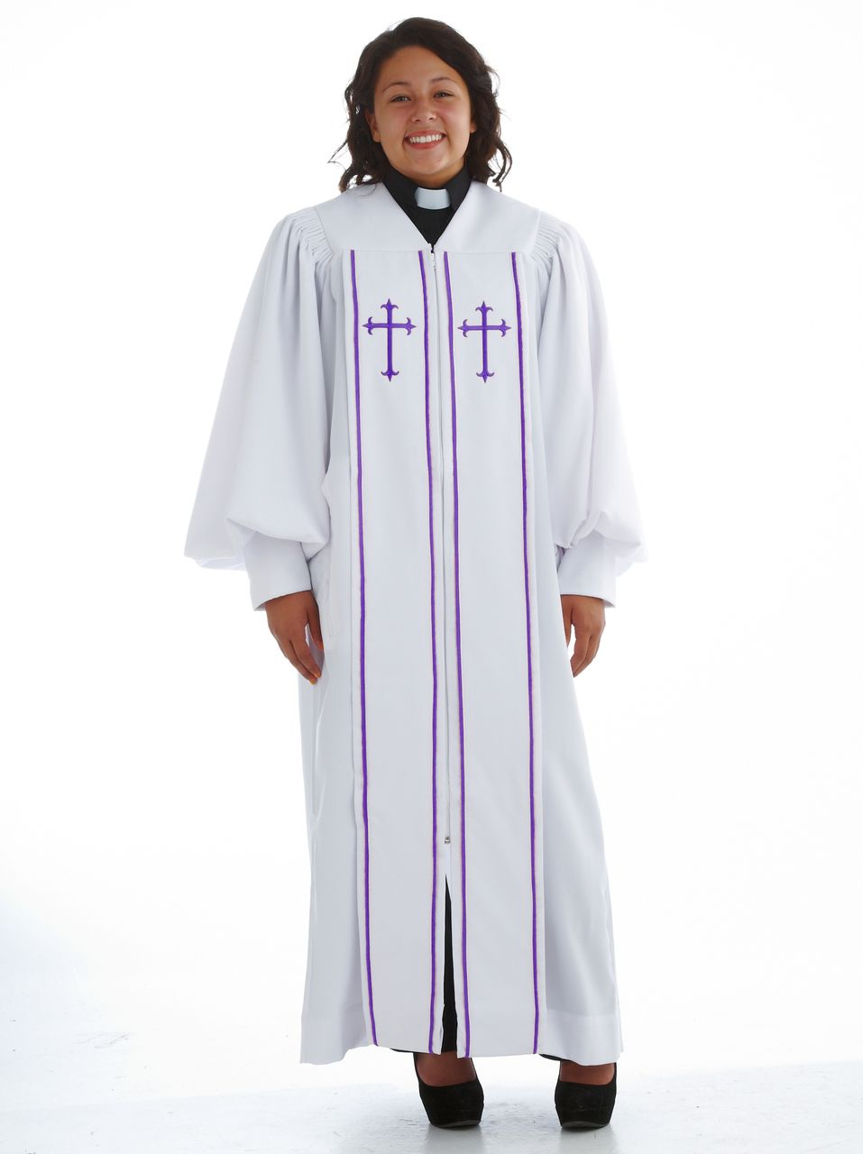 White and Purple Pulpit Robe - Clergy Judicial Pulpit Robe | Suit Avenue