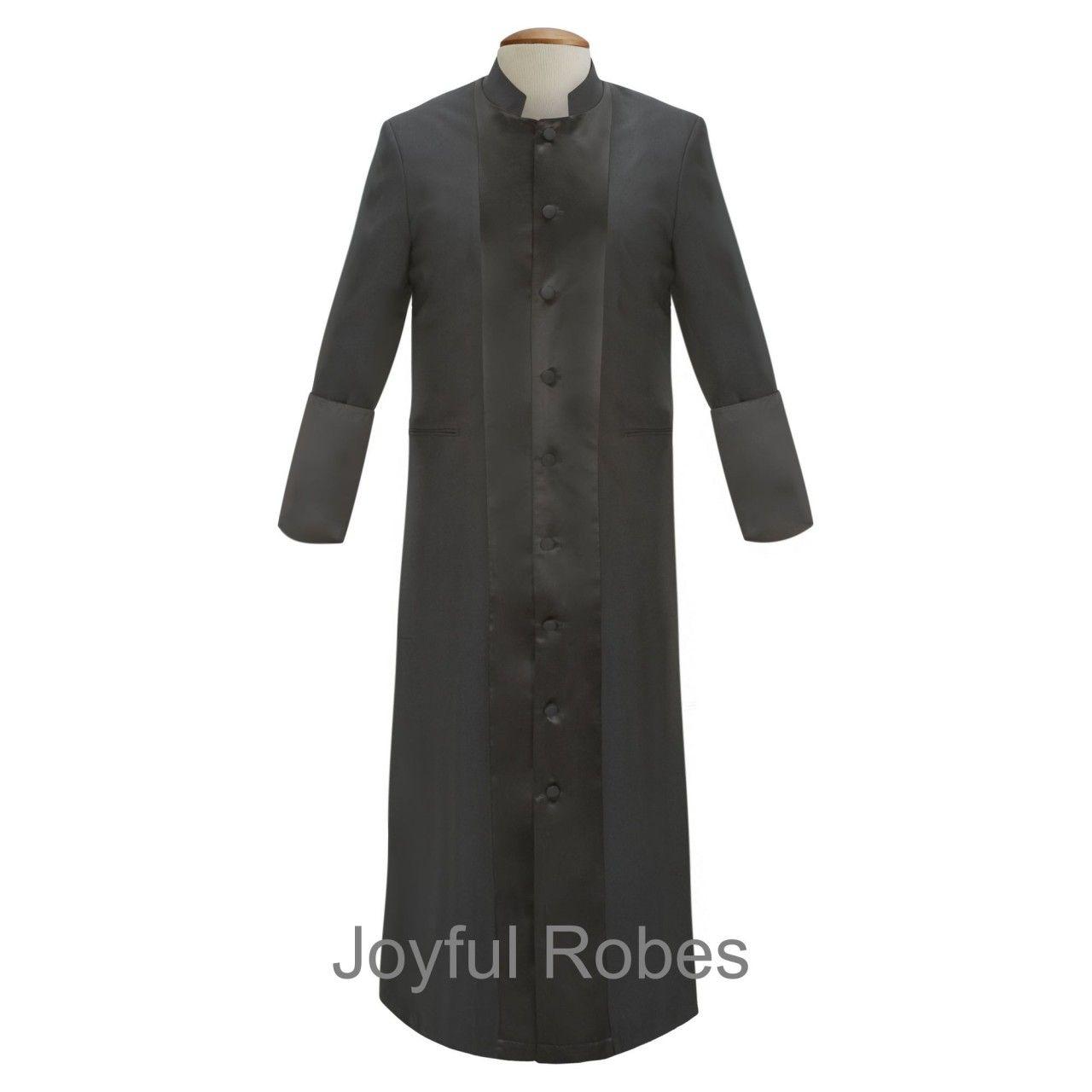 126 M. Men's Satin Pastor/Clergy Robe - Black/Black