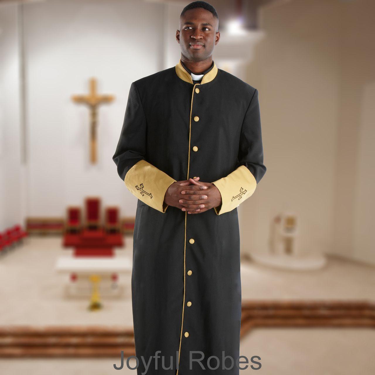 301 M. Men's Clergy/Pastor Robe Black/Gold Cuff