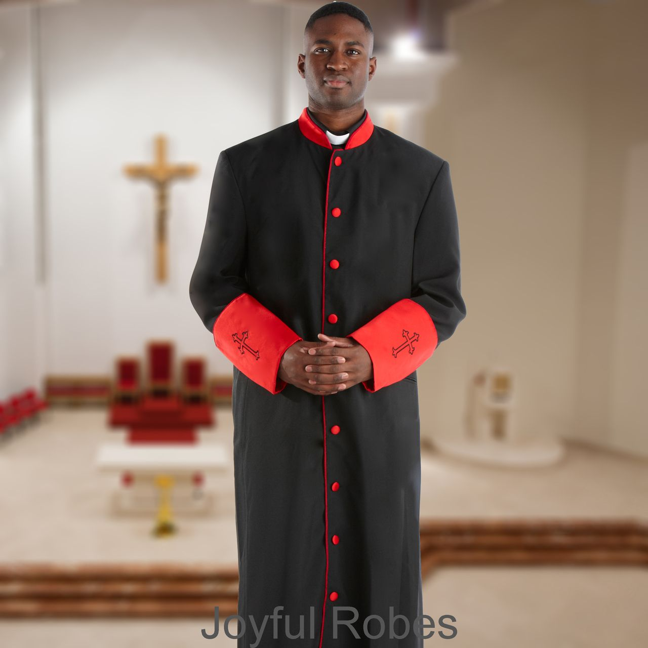 308 M. Men's Pastor/Clergy Robe - Black/Red Cuff