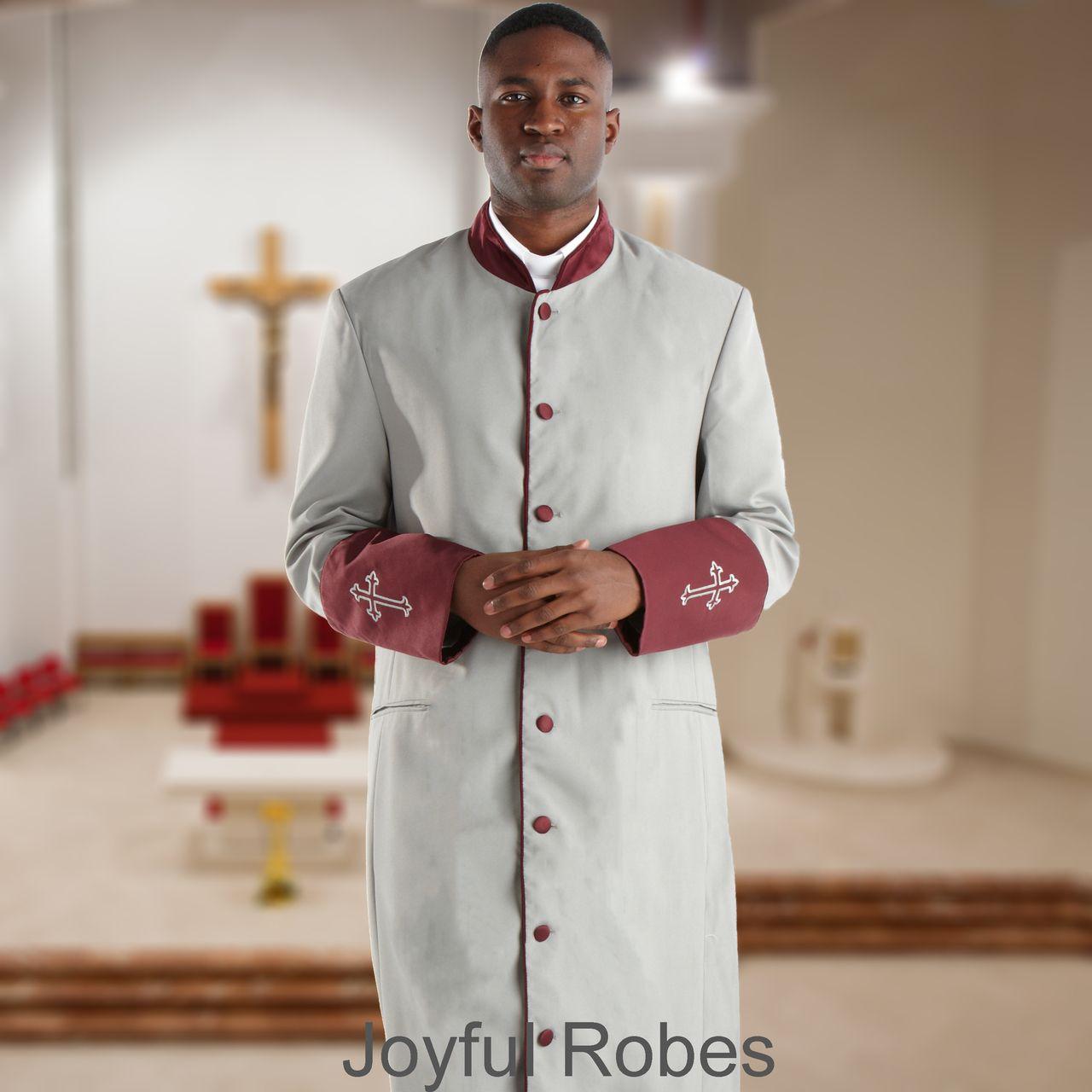 309 M. Men's Pastor/Clergy Robe - Grey/Maroon Cuff