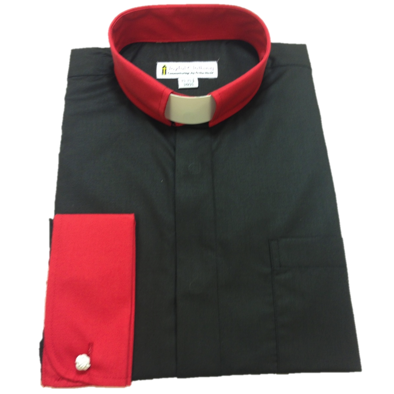 130. Men's Contrast Tab-Collar Clergy Shirt - Black/Red Collar