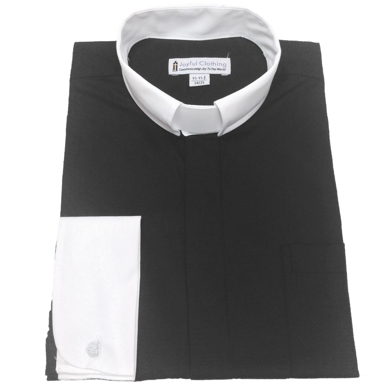 138. Men's Contrast Tab-Collar Clergy Shirt - Black/White Collar