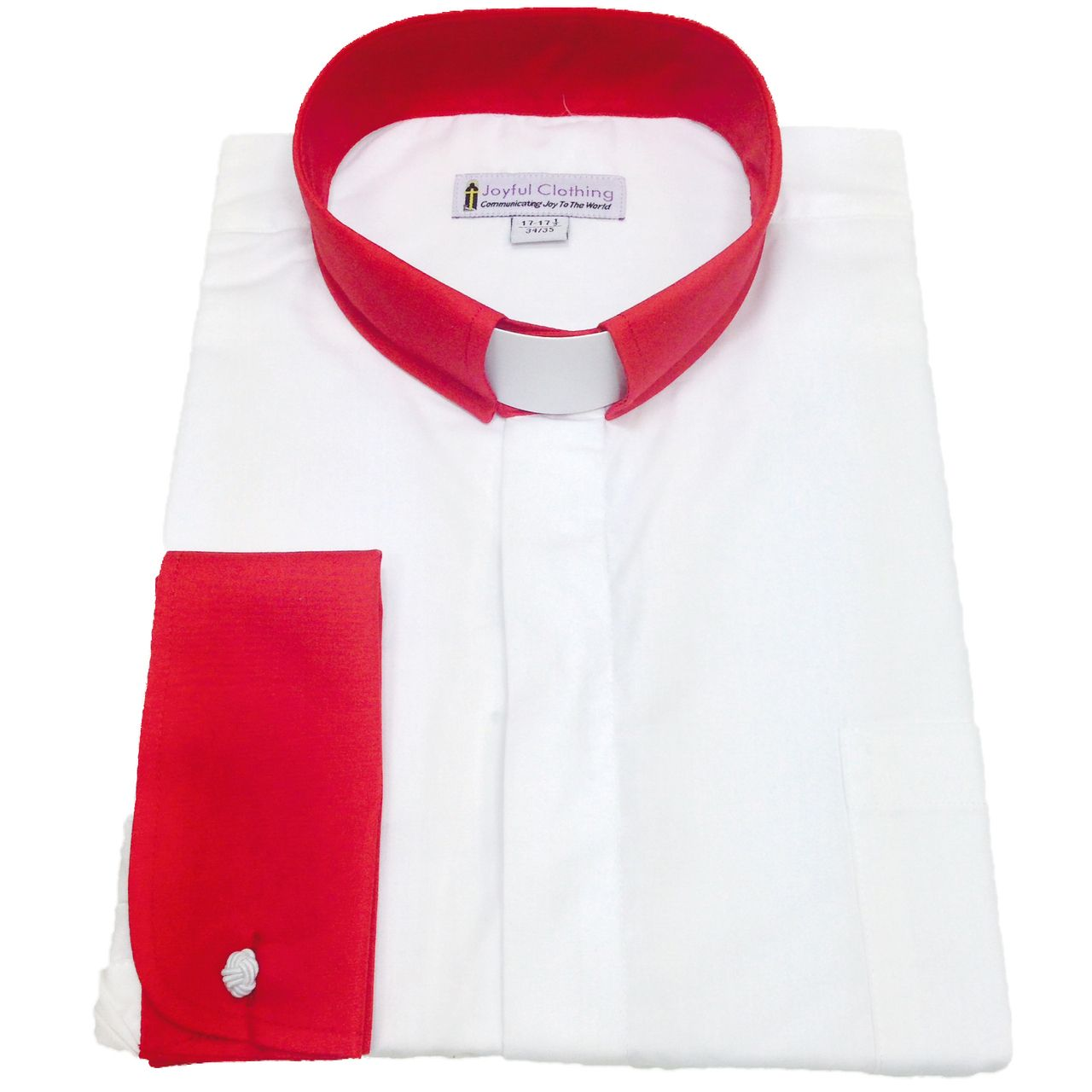 131. Men's Contrast Tab-Collar Clergy Shirt - White/Red Collar