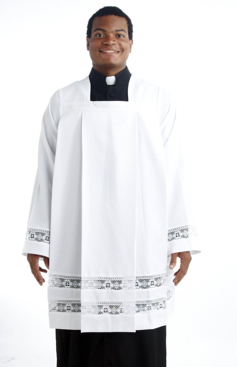 Men's Ministerial Square-Neck Surplice with Lace