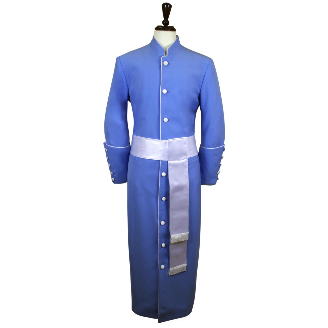 185 M. Men's Pastor/Clergy Robe - Light Blue/White Cincture Set
