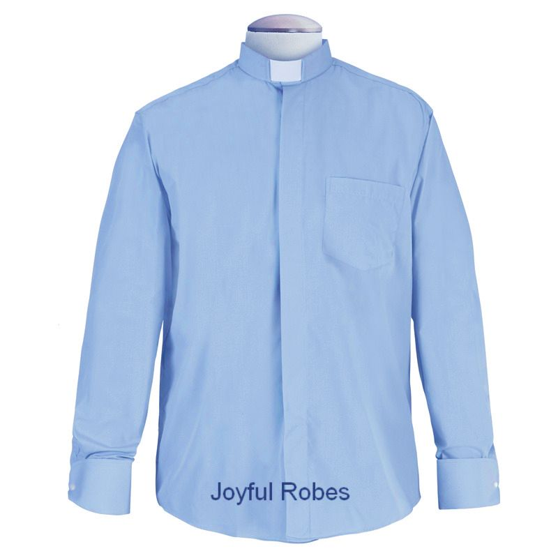 113. Men's Long-Sleeve Tab-Collar Clergy Shirt - Light Blue
