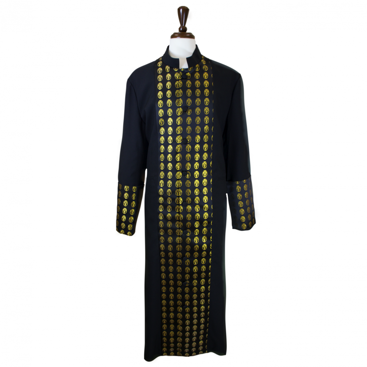 801 M. Men's Premium Pastor/Clergy Robe - Black/Gold Metallic Brocade