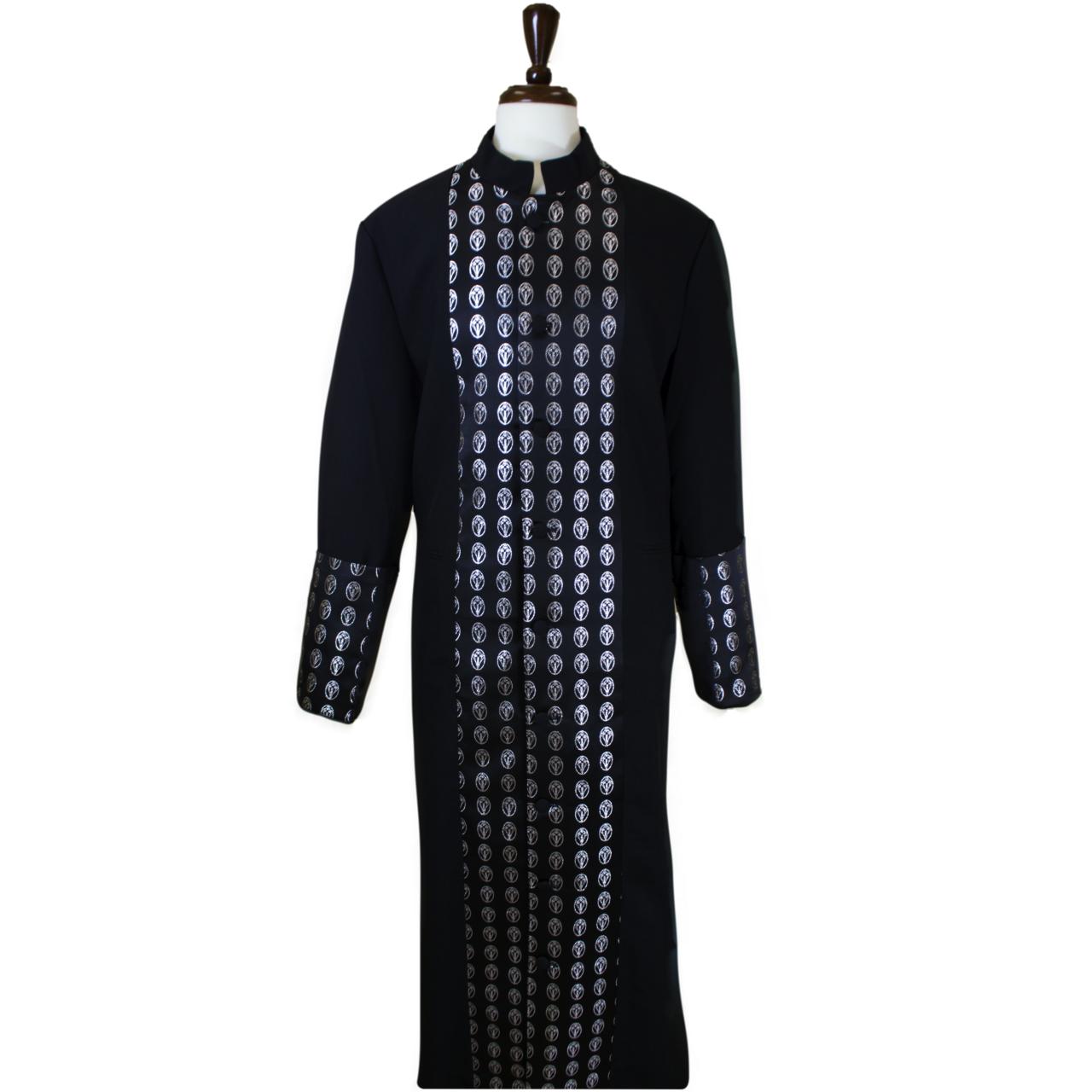 802 M. Men's Premium Pastor/Clergy Robe - Black/Silver Metallic Brocade