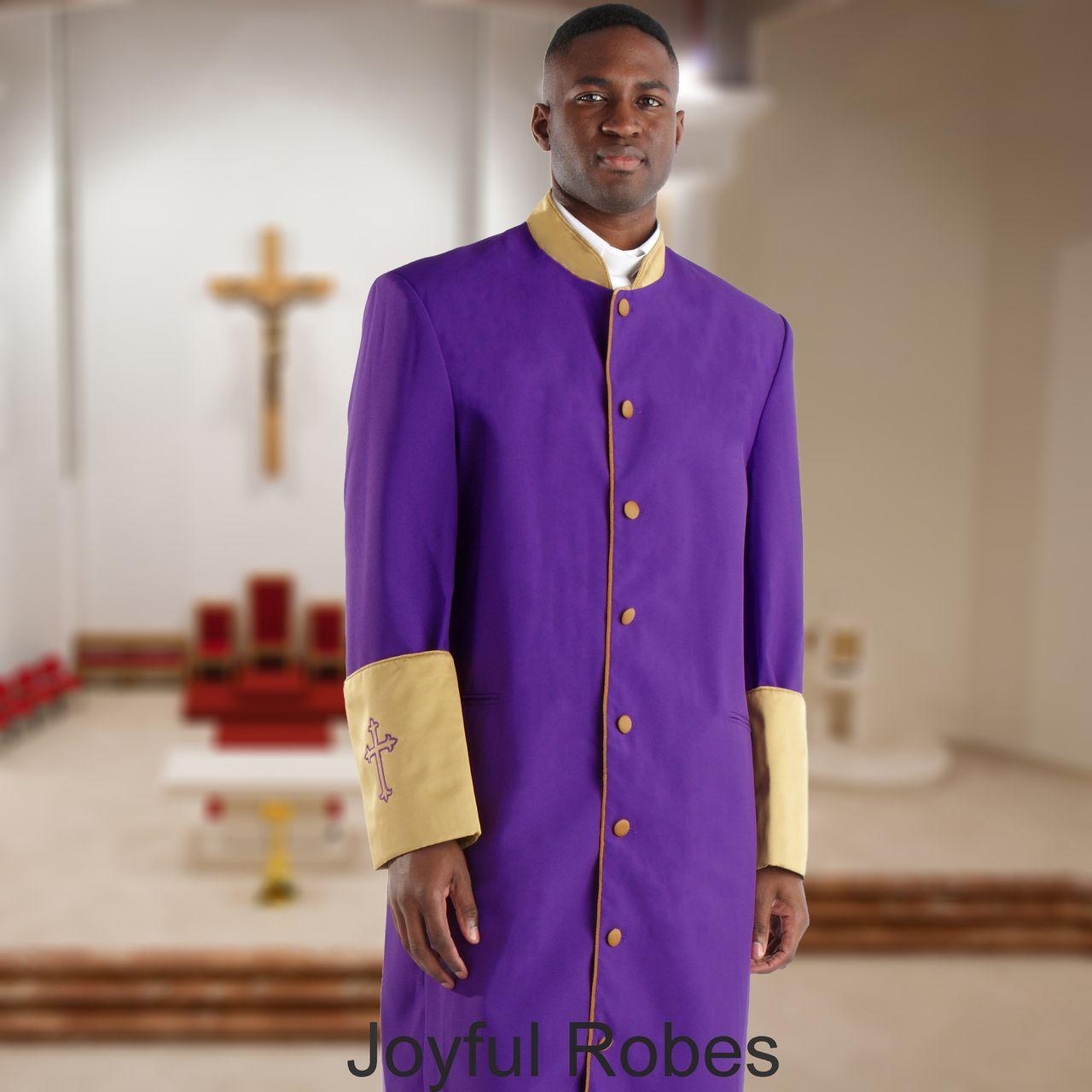 302 M. Men's Pastor/Clergy Robe - Purple/Gold Cuff