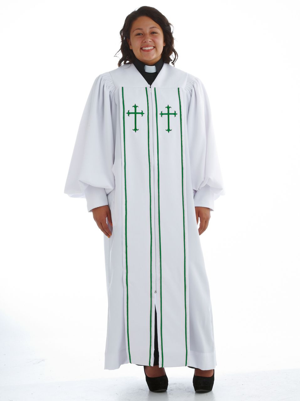 928 P. Men's & Women's Clergy Robe - White/Emerald