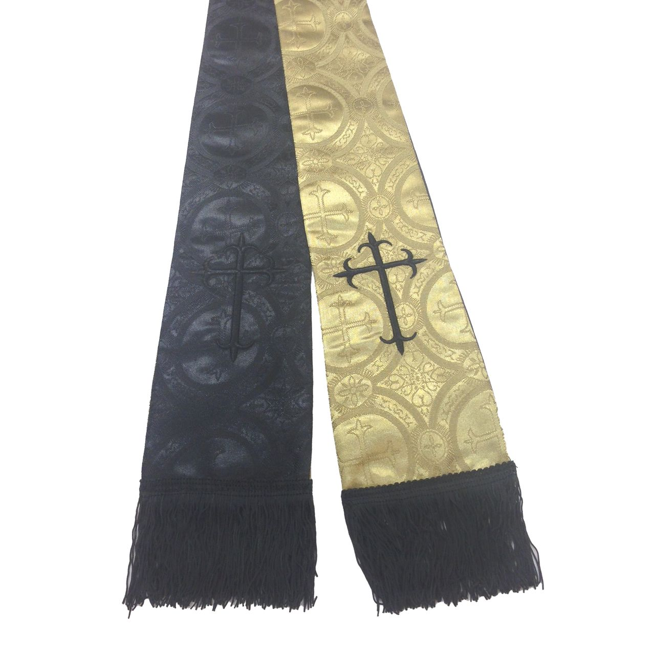 Premium Brocade Reversible Clergy Stole - Gold/Black
