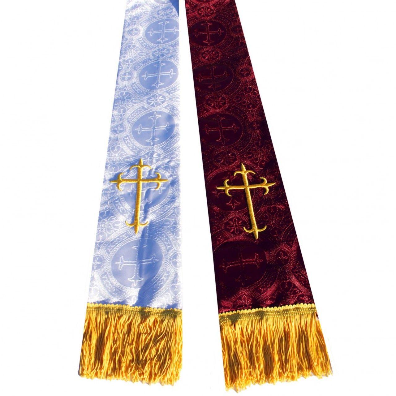 Premium Brocade Reversible Clergy Stole - Burgundy/White