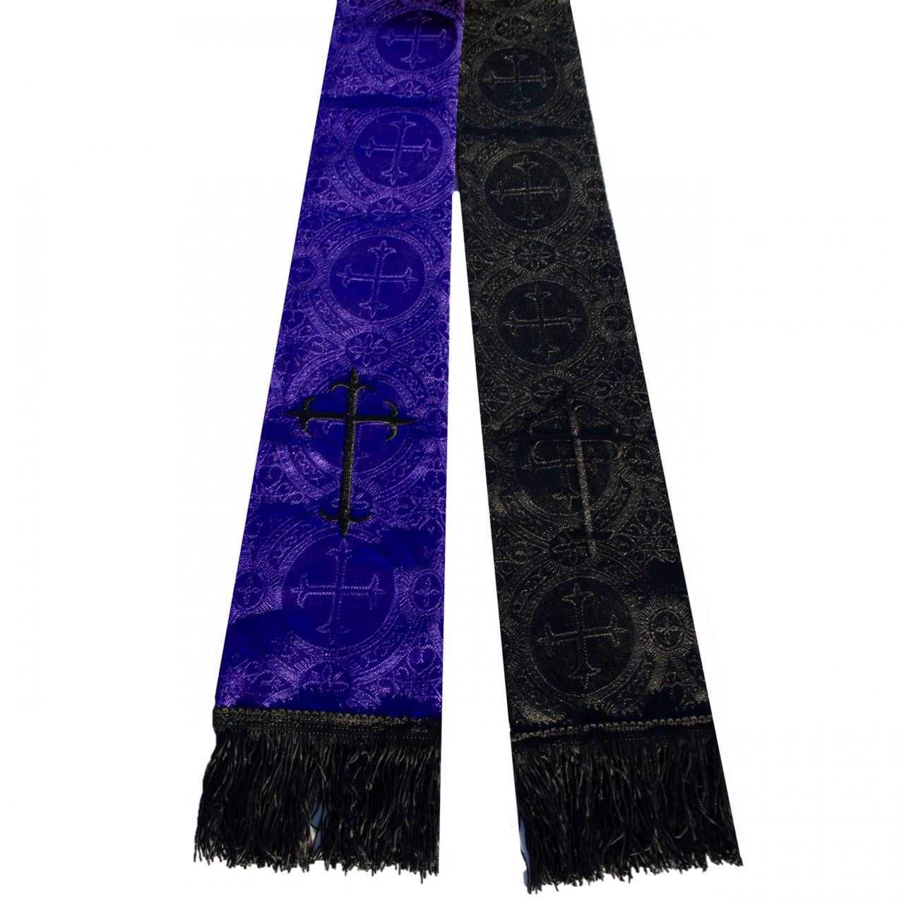 Premium Brocade Reversible Clergy Stole - Purple/Black