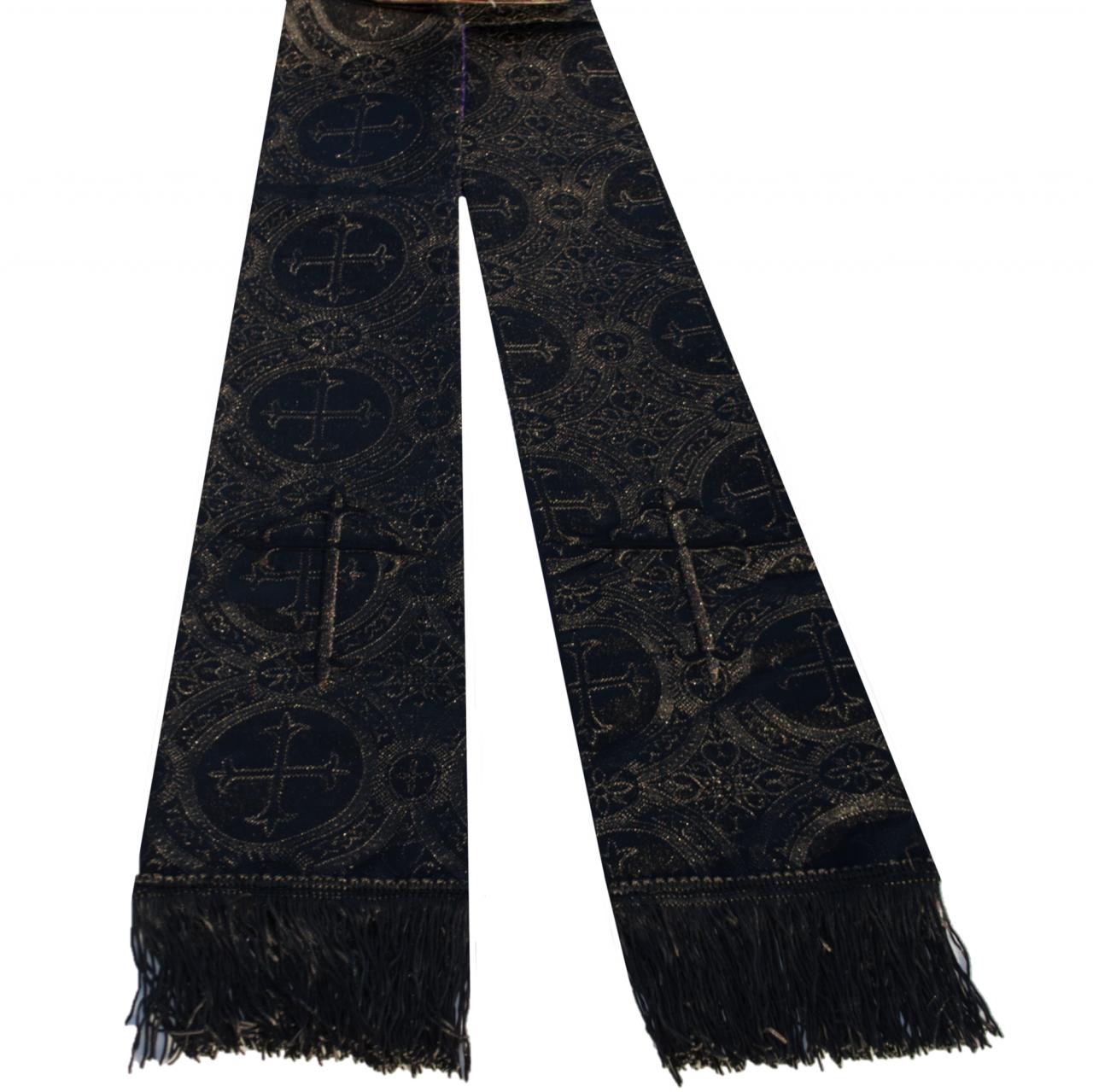 Premium Brocade Clergy Stole - Solid Black