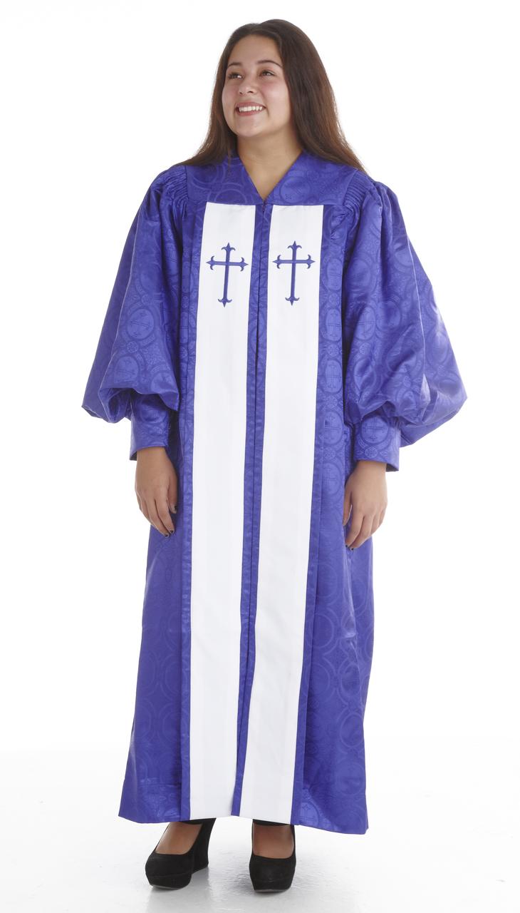 953 P. Men's & Women's Clergy Robe - Purple Brocade with White