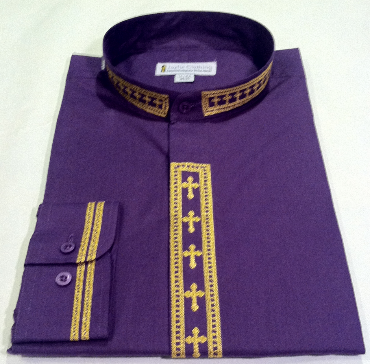 305. Men's Long-Sleeve Clergy Shirt With Fine Embroidery - Purple/Gold