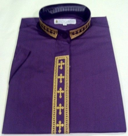 355. Men's Short-Sleeve Clergy Shirt With Fine Embroidery - Purple/Gold