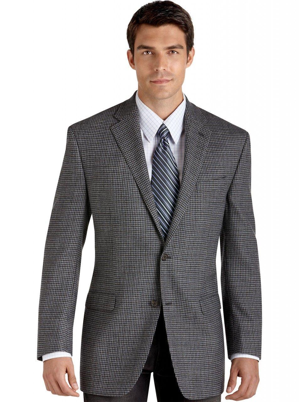 Men's Lauren by Ralph Lauren Silk/Wool Plaid Sport Coat - Gray