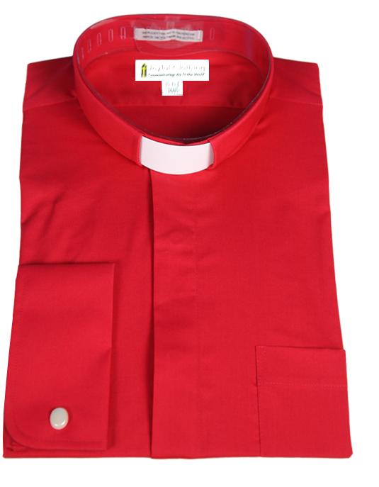 107. Men's Long-Sleeve Tab-Collar Clergy Shirt - Red