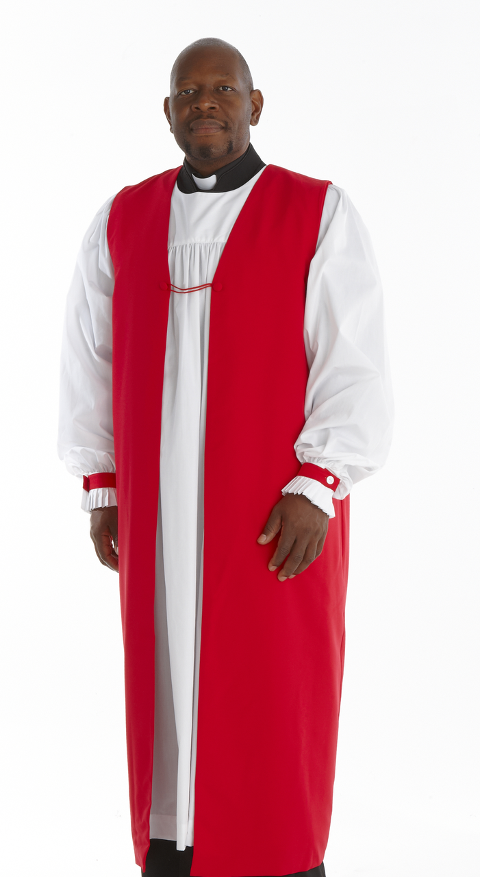 Traditional Clergy Chimere with Fluting - Scarlet Red