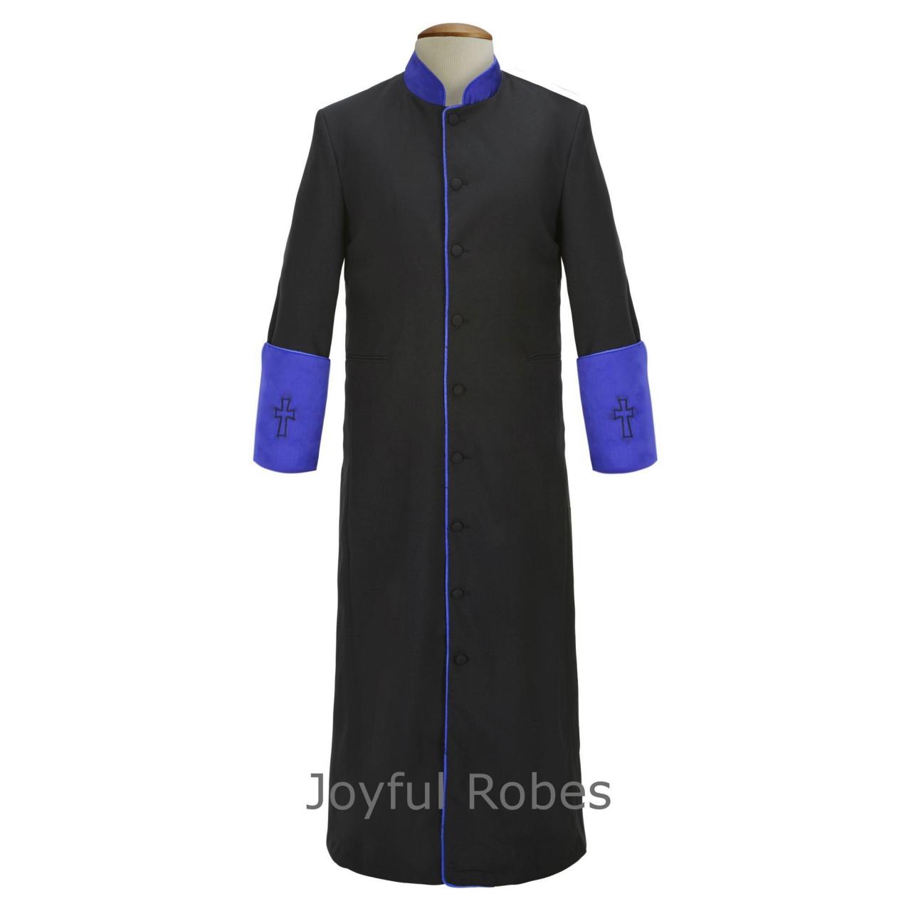 307 M. Men's Clergy/Pastor Robe - Black/Royal