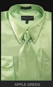 Men's Satin Dress Shirt With Tie