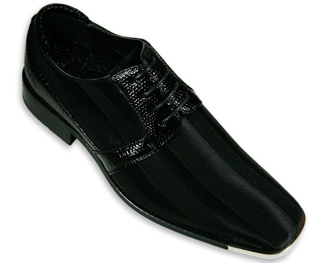 Men's Metal-Tip Satin Dress Shoes - Black