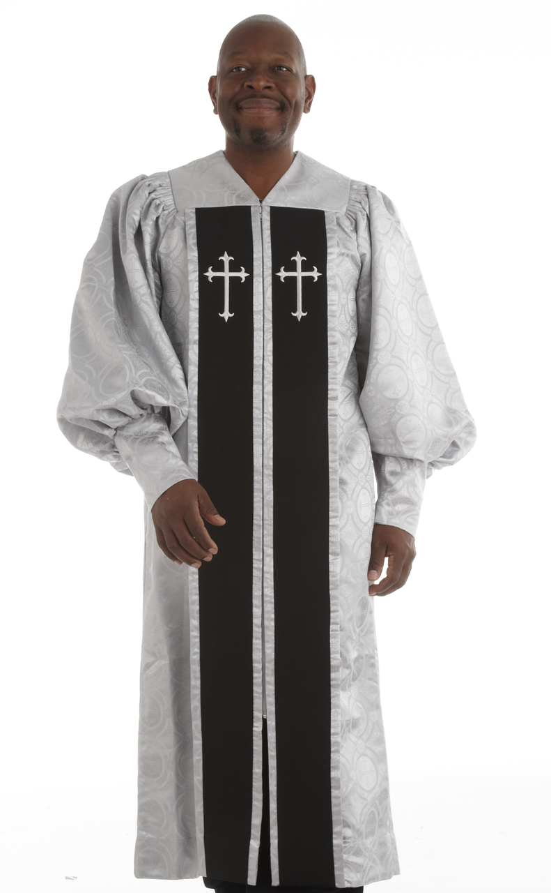 951 P. Men's & Women's Clergy Robe - Silver Brocade with Black