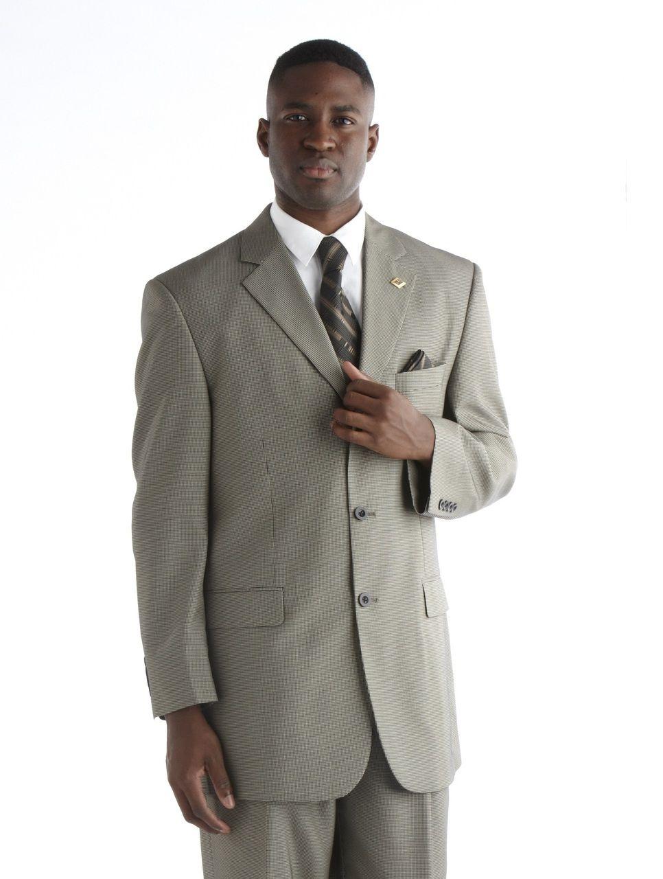 Stacy Adams Houndstooth Suit - Beige