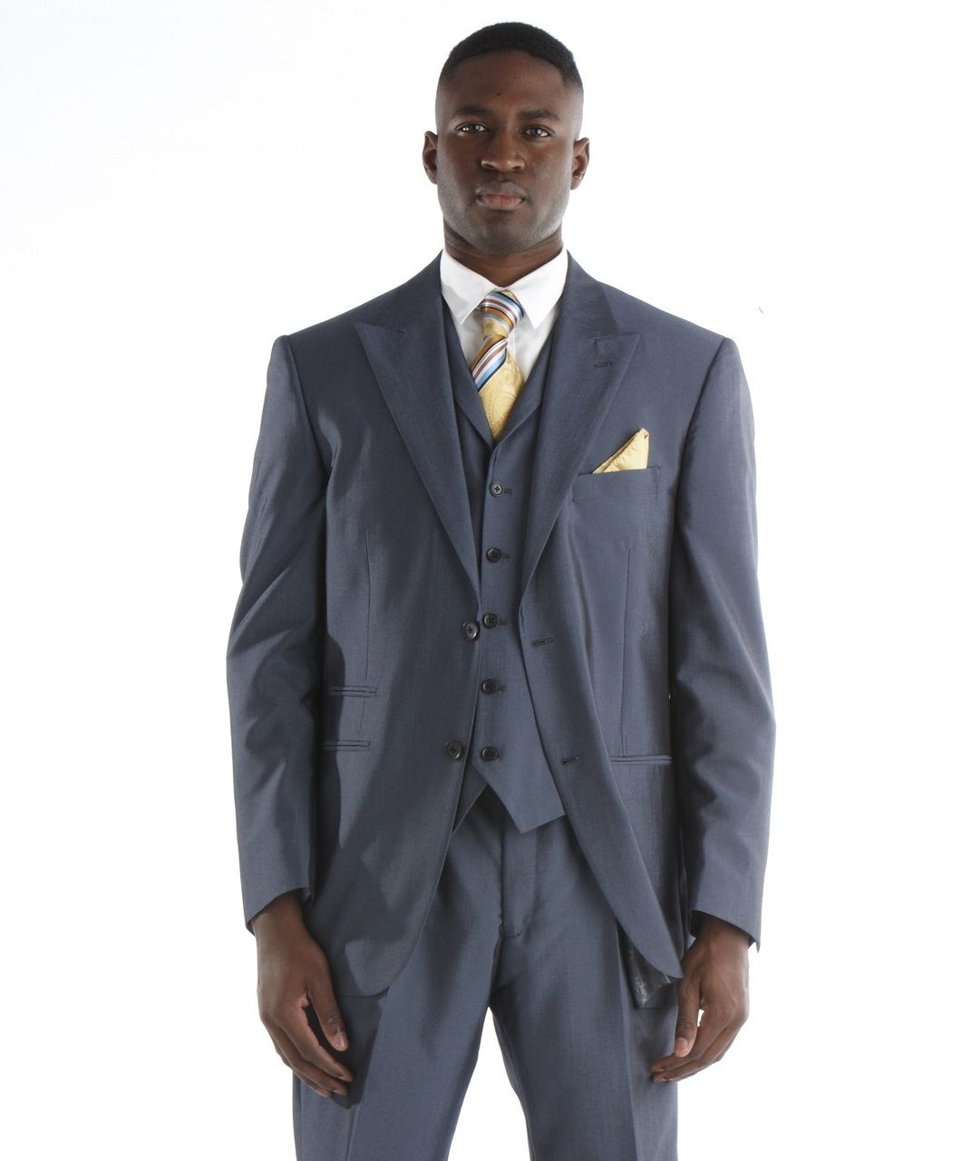 Steve Harvey Sharkskin 3 Pc. Suit - Midnight Blue