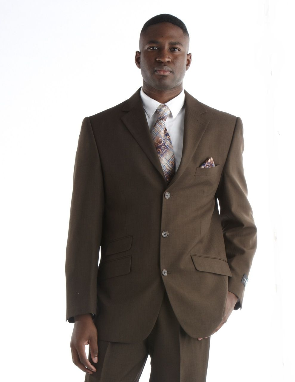 Steve Harvey Striped Design Suit - Brown
