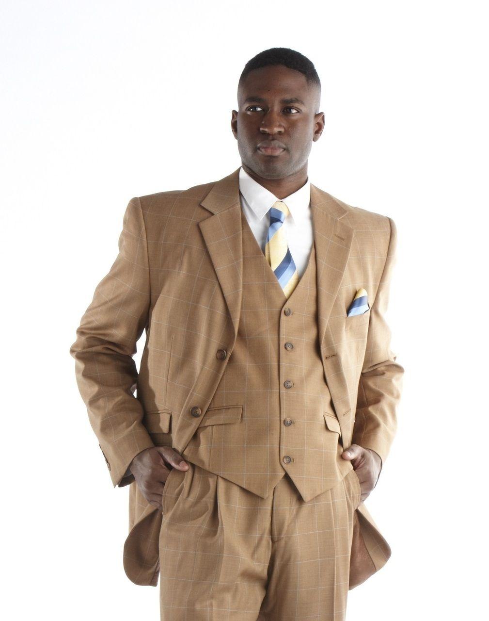 Steve Harvey Plaid 3 Pc. Suit - Cognac