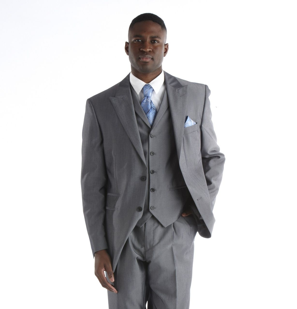 Steve Harvey Sharkskin 3 Pc. Suit - Silver