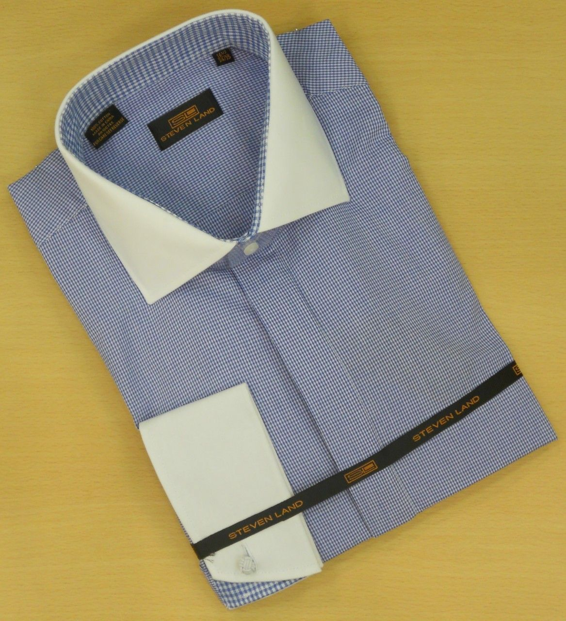 Men's Steven Land Fine Checks Plaid Dress Shirt - Light Blue/White