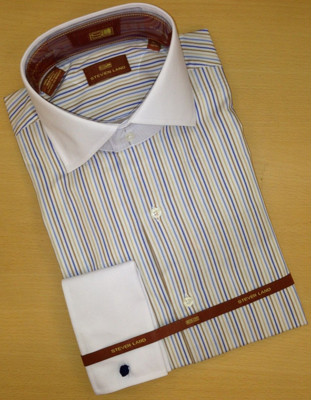 Men's Steven Land Sharp Striped Spread Collar Dress Shirt - White