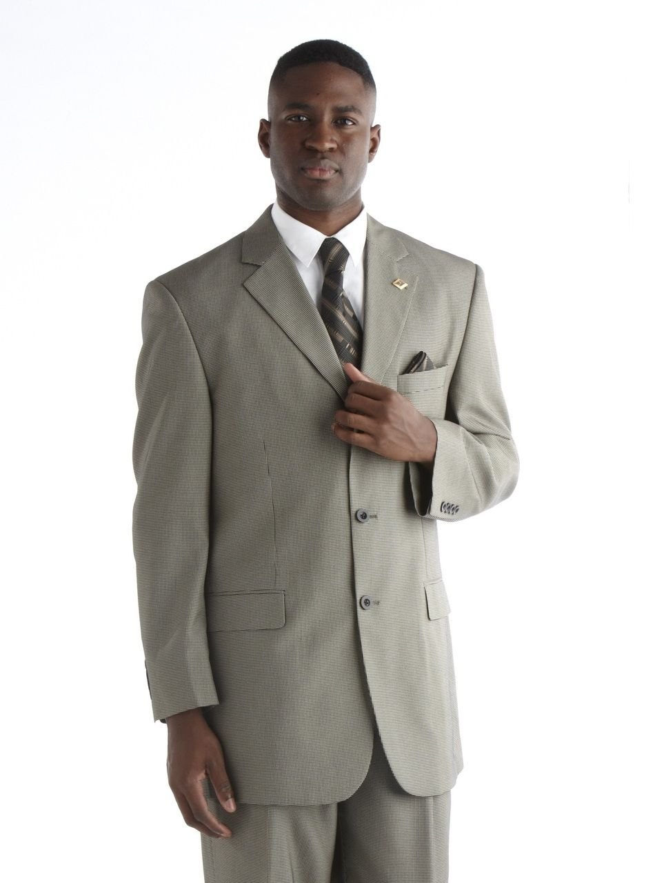 Stacy Adams Houndstooth Suit - Beige