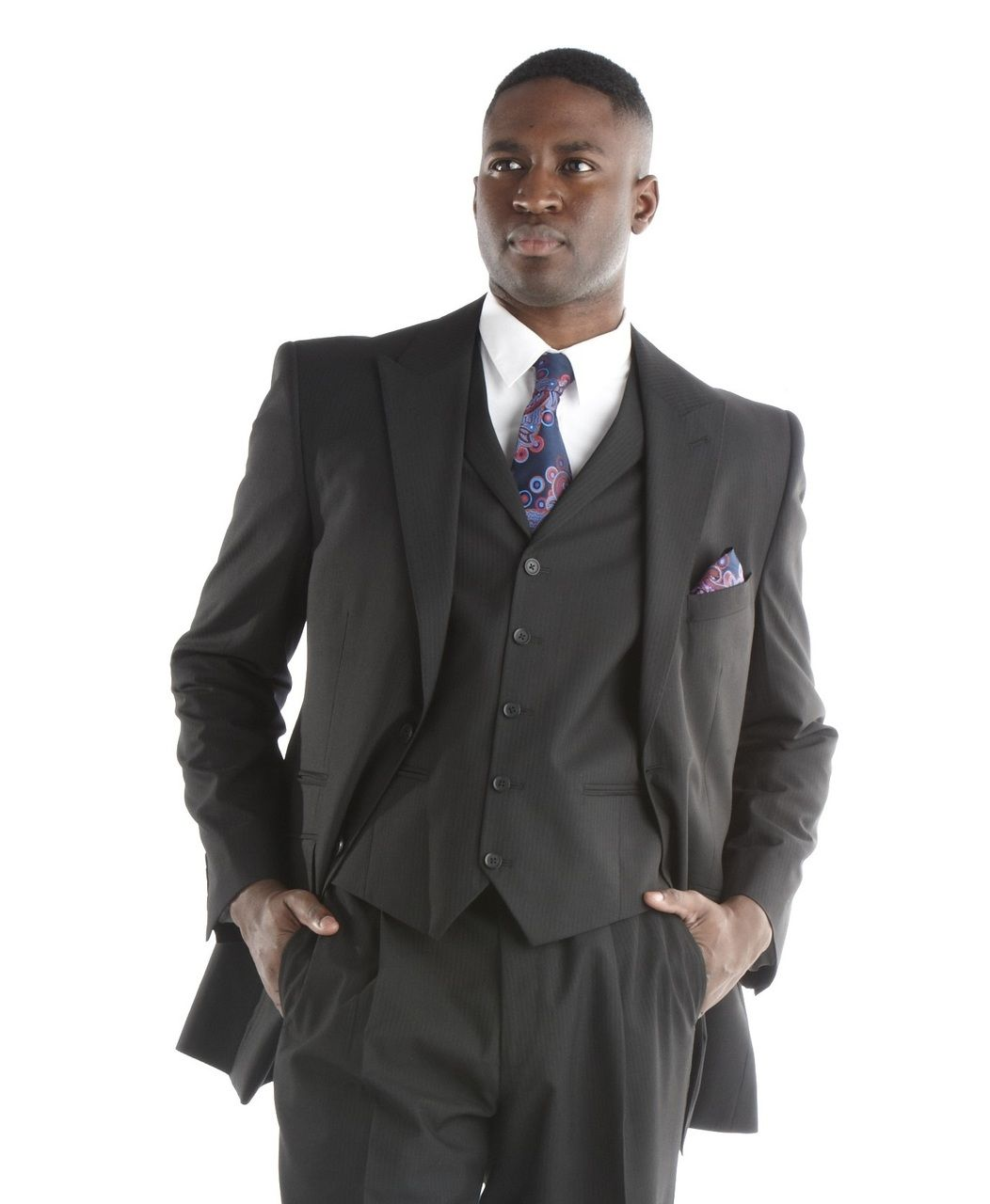 Steve Harvey Striped Design 3 Pc. Suit - Black