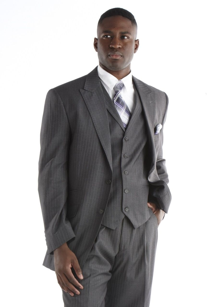 Steve Harvey Pinstripe 3 Pc. Suit - Grey