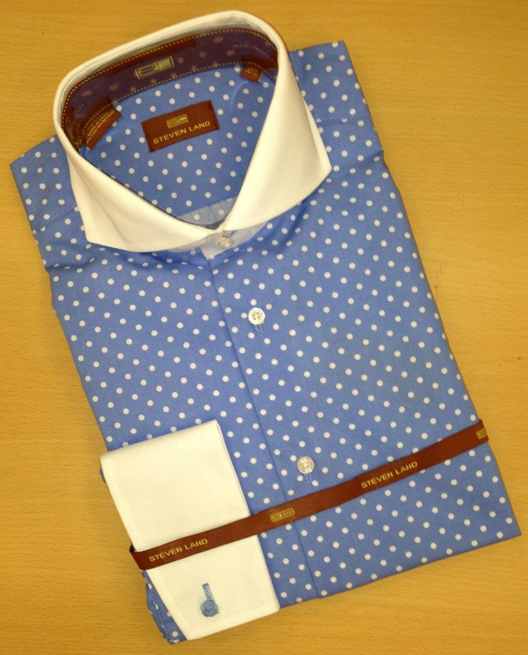 Men's Steven Land Polka Dot Dress Shirt - French Blue